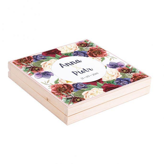 Podziękowanie w drewnianym pudełku Flowery w2