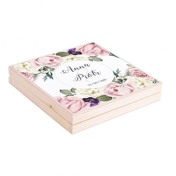 Podziękowanie w drewnianym pudełku Flowery w3