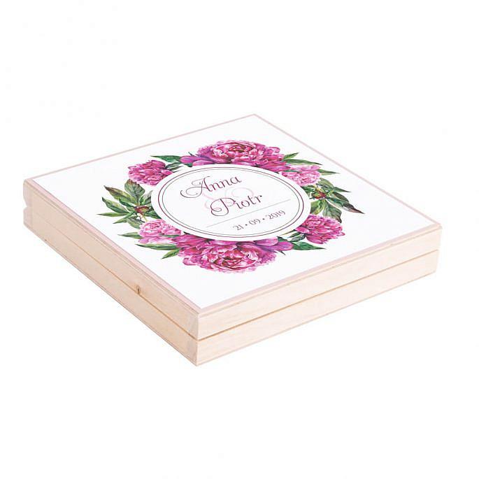 Podziękowanie w drewnianym pudełku z kwiatami Piwonii w14