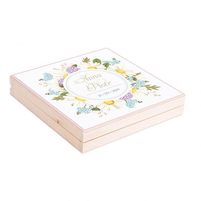Podziękowanie w drewnianym pudełku z kwiatami polnymi w2