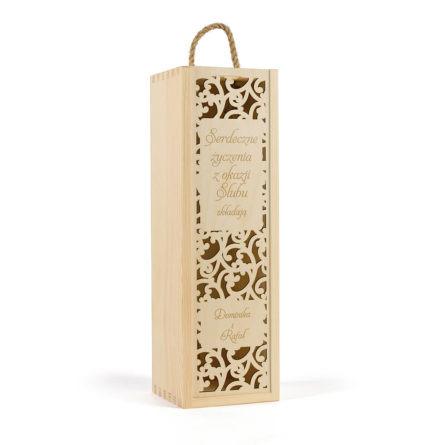 drewniana skrzynka na wino ślubne dla rodziców