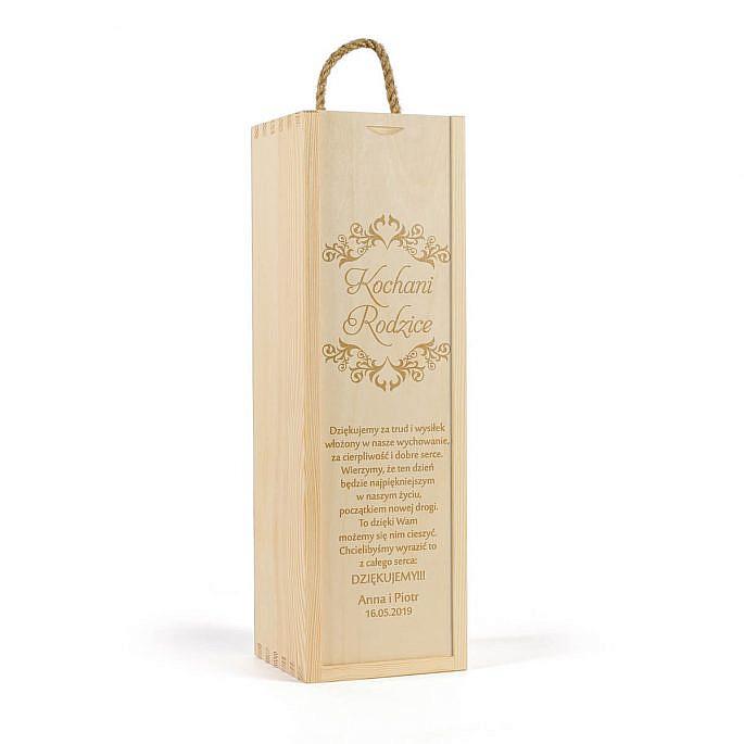 skrzynka na wino z własnym tekstem podziękowania