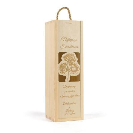 skrzynka na wino z grawerowanym wzorem róż