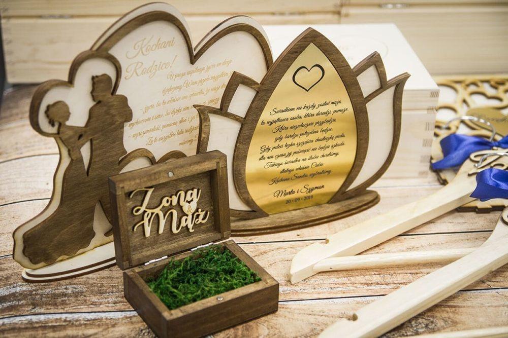 drewniane podziękowania dla rodziców z okazji wesela