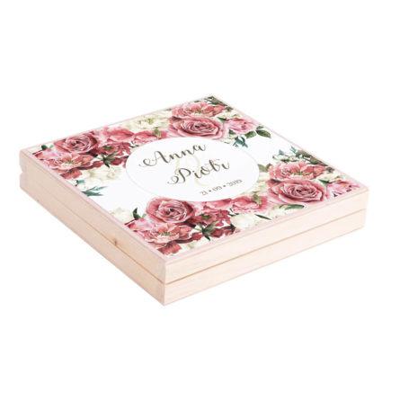 Podziękowanie w drewnianym pudełku Flowery w4