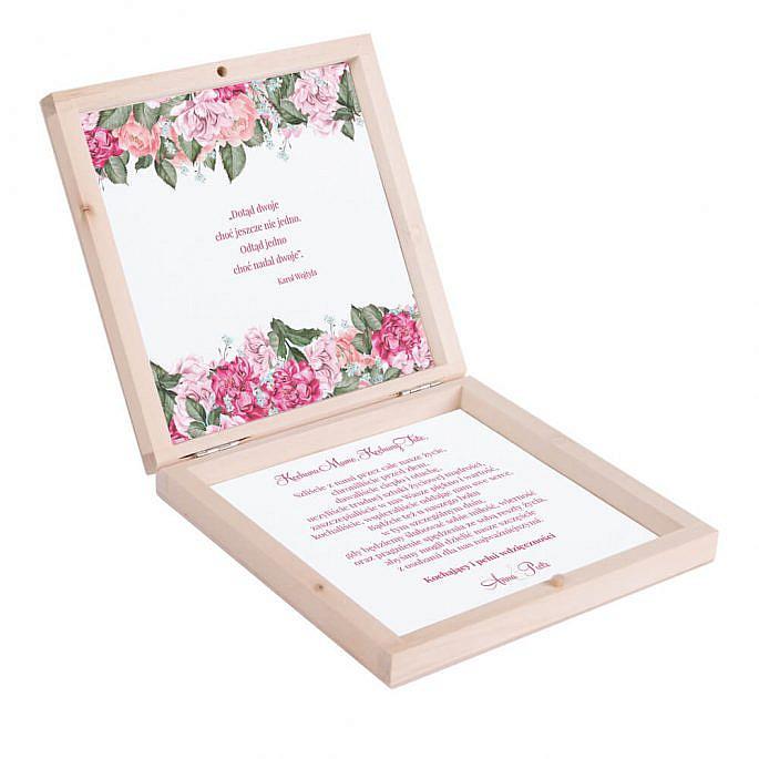 Podziękowanie w drewnianym pudełku Flowery w5