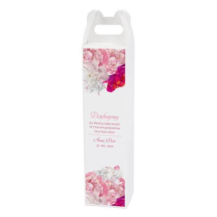 Pudełko na alkohol z kwiatami piwonii