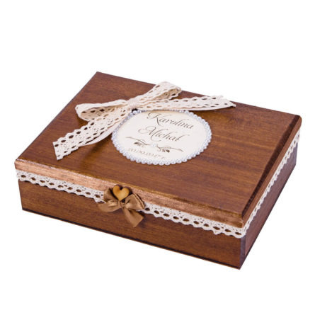 Pudełko na obrączki drewniane malowane koronka personalizacja