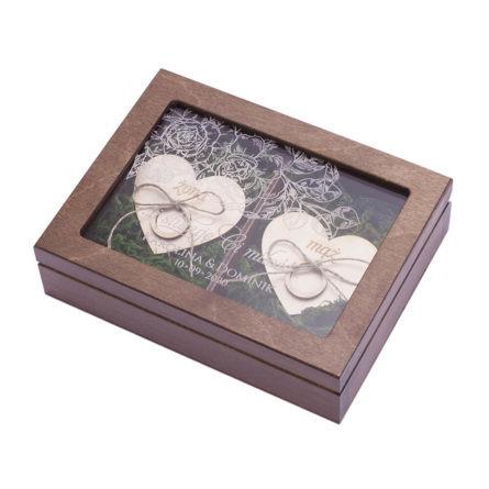 Brązowa szkatułka na obrączki