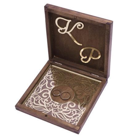 Pudełko na obrączki drewniane inicjały