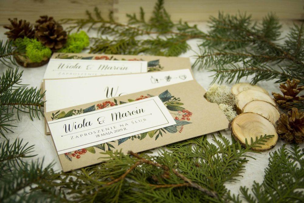 zaproszenia ślubne w stylu rustykalnym leśnym boho