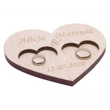 Tacka na obrączki ślubne drewniana personalizacja