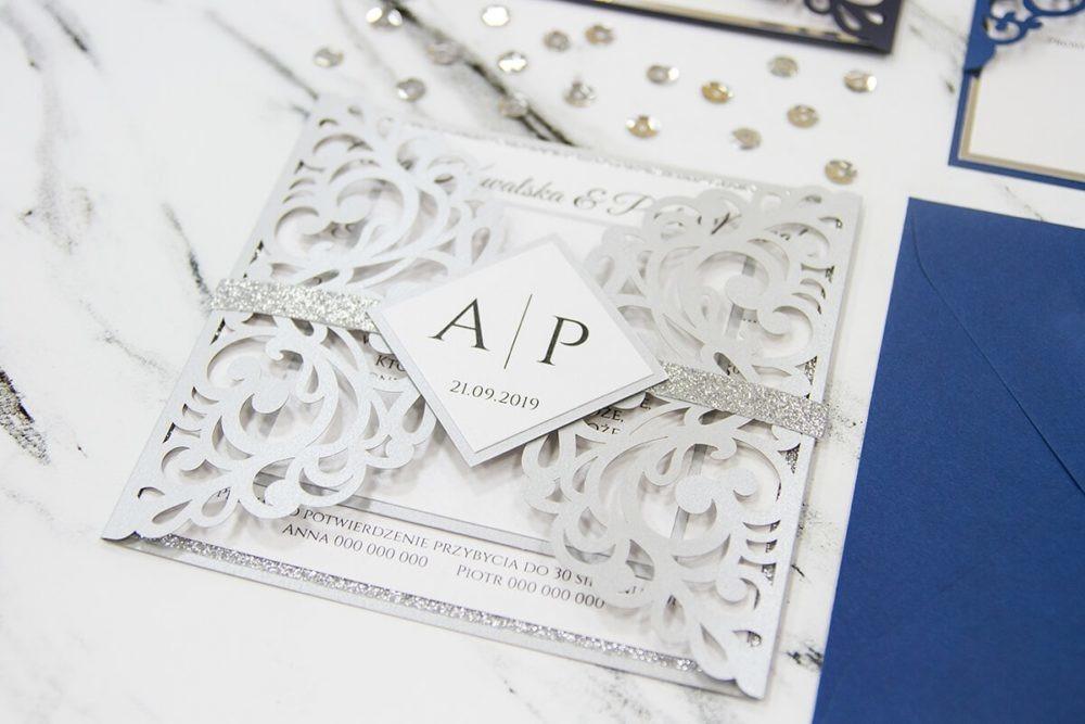 zaproszenia ślubne wycinane laserowo kolory na zimowe wesele