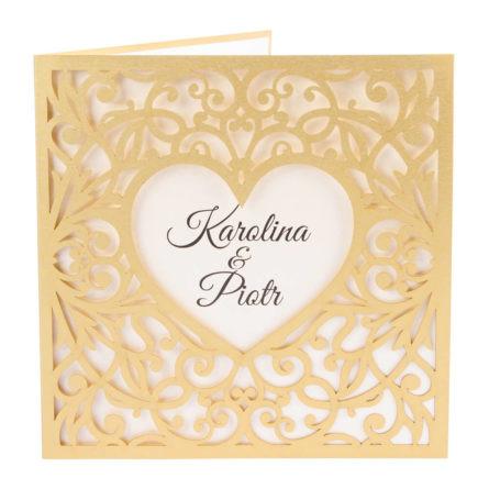Zaproszenia ślubne wycinane laserowo wzór z sercem złoty papier
