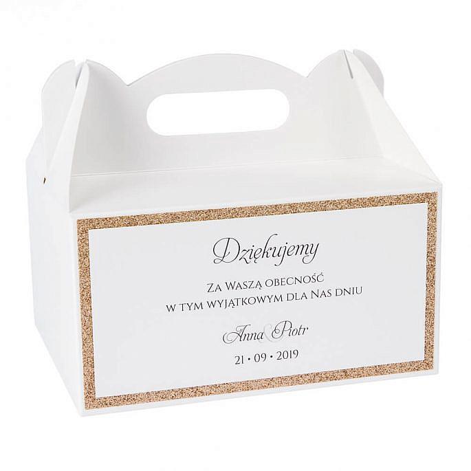 pudełka na ciasto dla gości weselnych styl glamour