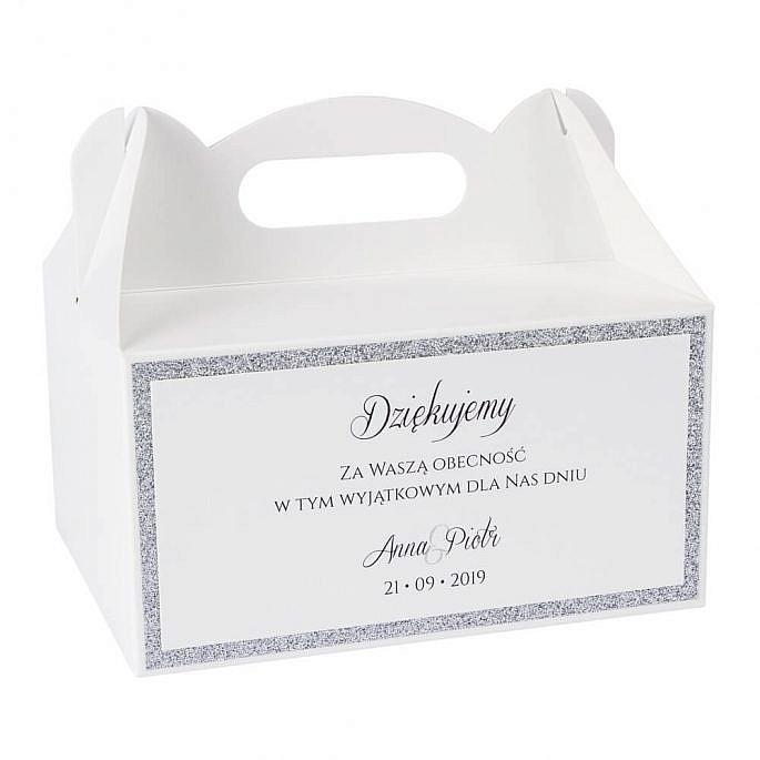 pudełka na ciasto weselne słodkie podziękowanie dla gości weselnych