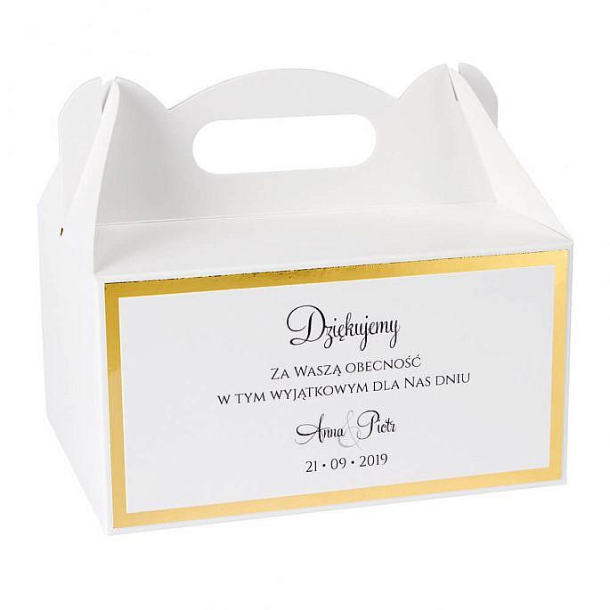 pudełka na ciasto weselne z papierem lustrzanym styl glamour