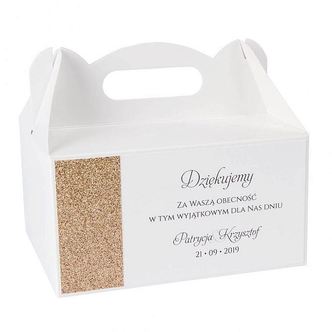 pudełka na ciasto weselne ze złotym papierem brokatowym