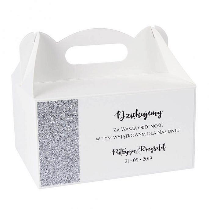 pudełka na ciasto weselne w stylu glamour z podziękowaniem dla gości weselnych