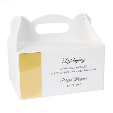 pudełka na ciasto weselne z papierem lustrzanym złotym