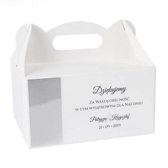 pudełka na ciasto weselne z papierem lustrzanym i podziękowaniem dla gości weselnych