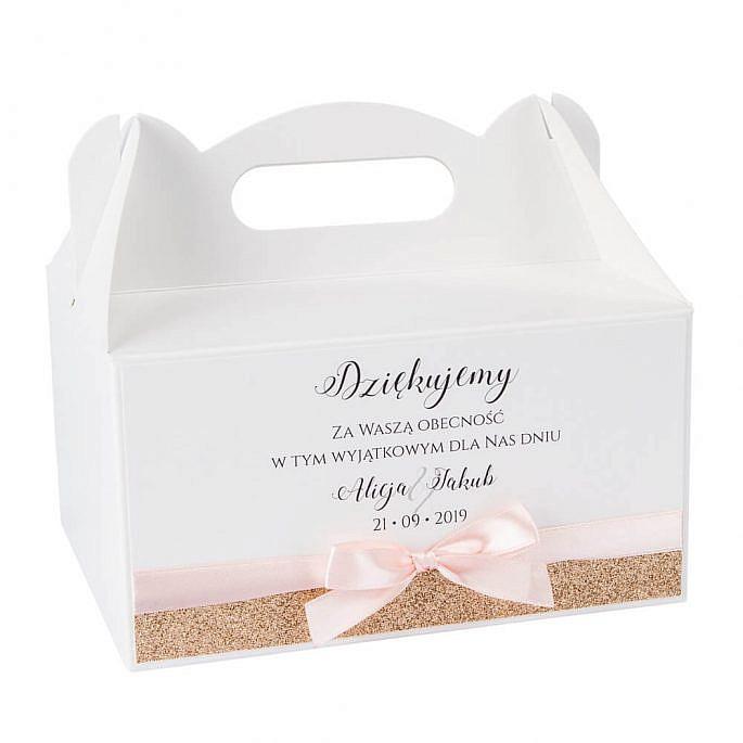 pudełka na ciasto weselne z imionami młodej pary