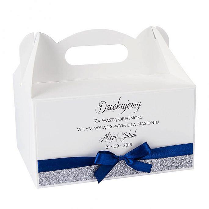 pudełka na ciasto weselne z papierem ozdobnym