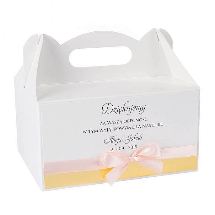 pudełka na ciasto weselne własny tekst