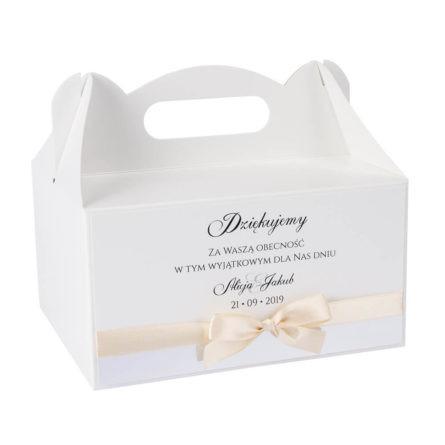 pudełka na ciasto weselne z kokardką