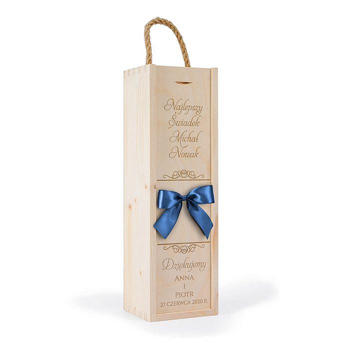 drewniana skrzynka na jedną butelkę wina prezent dla świadka ślubnego