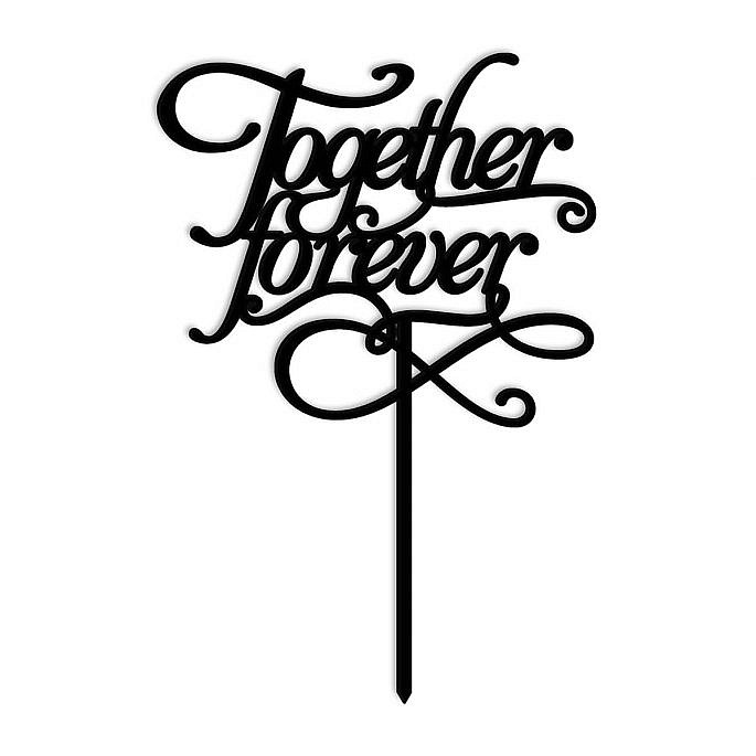 topper na tort weselny together forever czarny plexi