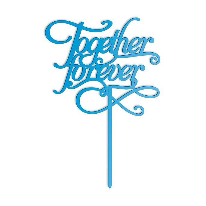 topper na tort weselny together forever niebieski