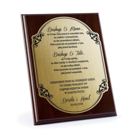podziękowania dla rodziców dyplom grawerowany złoty