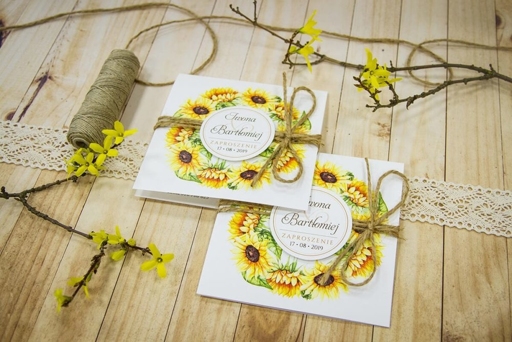 zaproszenia ślubne słonecznik