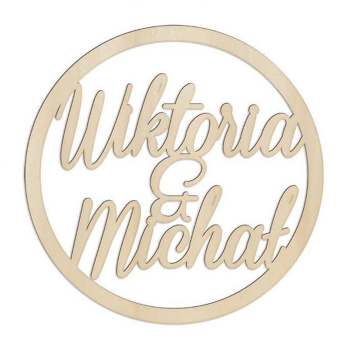 dekoracja na wesele imiona drewniane koło