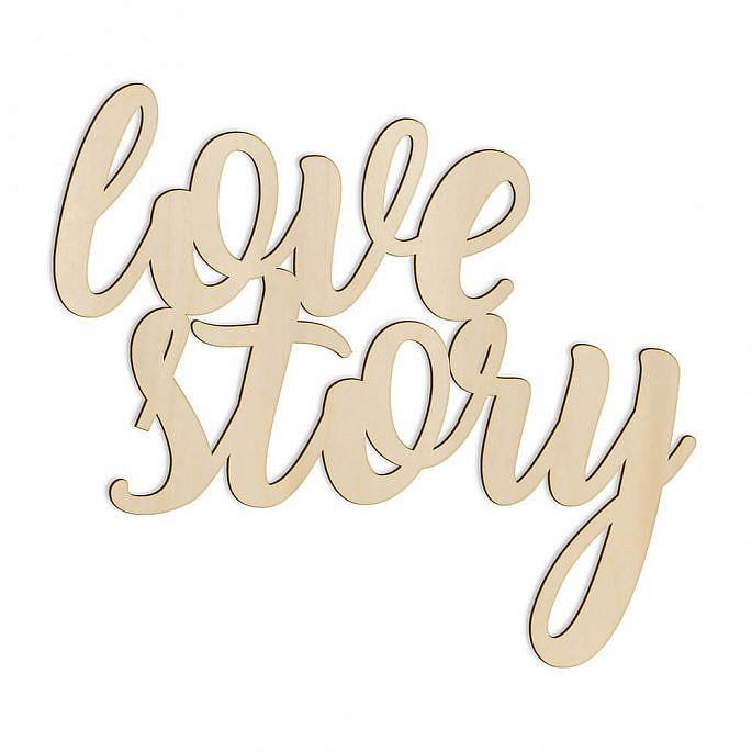 napis love story drewniany wycinany dekoracja na salę weselną