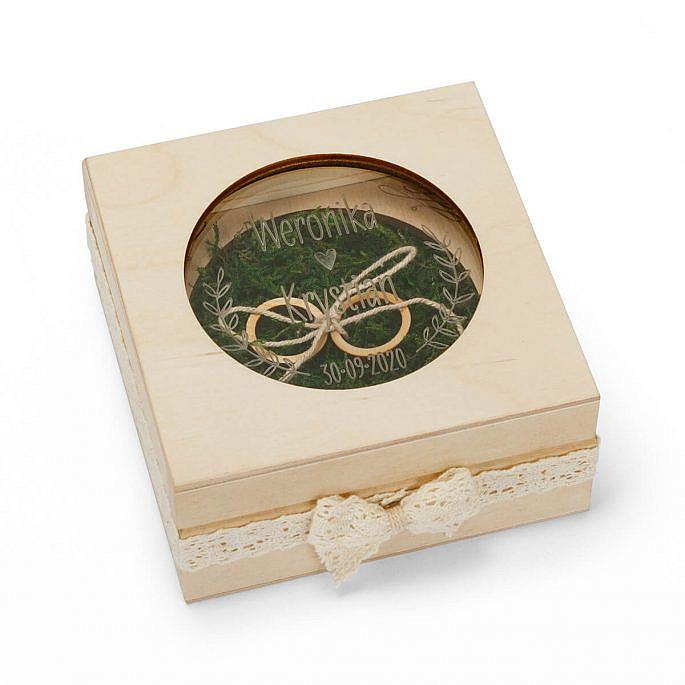 pudełko na obrączki drewniane plexi grawer mech