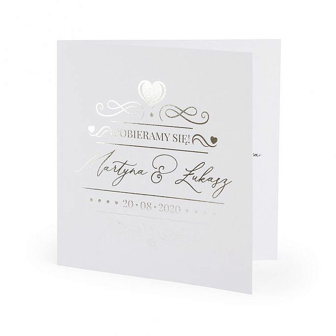zaproszenie ślubne srebrne błyszczące
