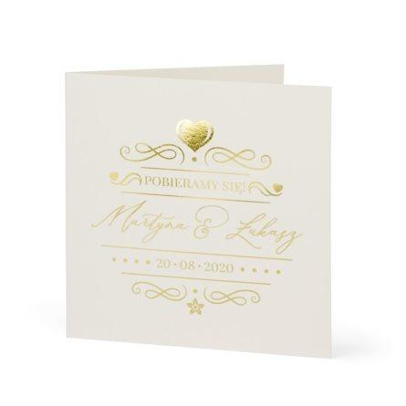 zaproszenie ślubne złocone błyszczące pobieramy się