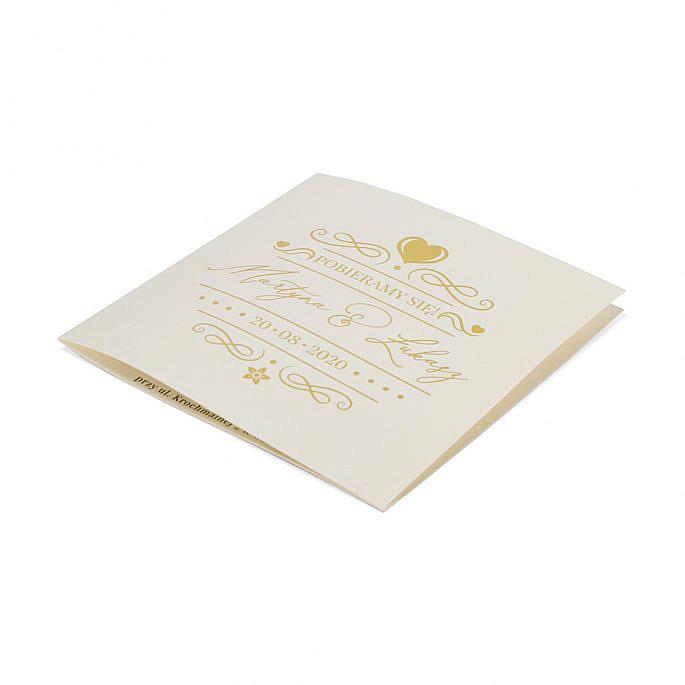 zaproszenie na ślub na wesele złocenie serce