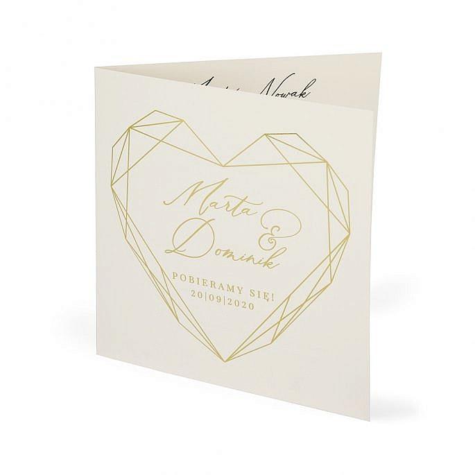 zaproszenie ślub serce złocenie napisy ozdobne czcionki