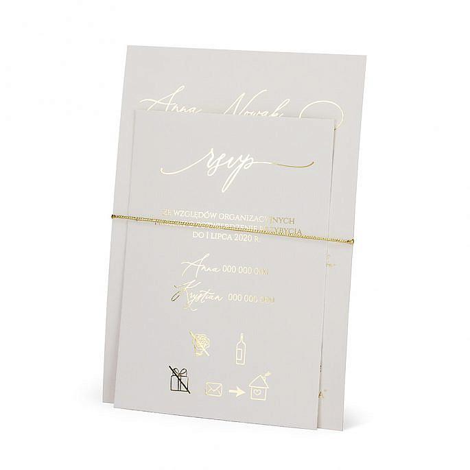zaproszenie na ślub wesele złocenie sznurek złoty