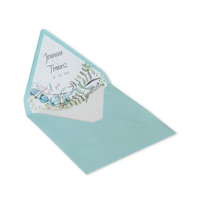 koperta na zaproszenie ślubne z nadrukiem personalizacja imiona młodej pary