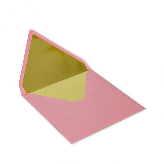 koperta różowa na zaproszenie ślubne złoty środek połysk