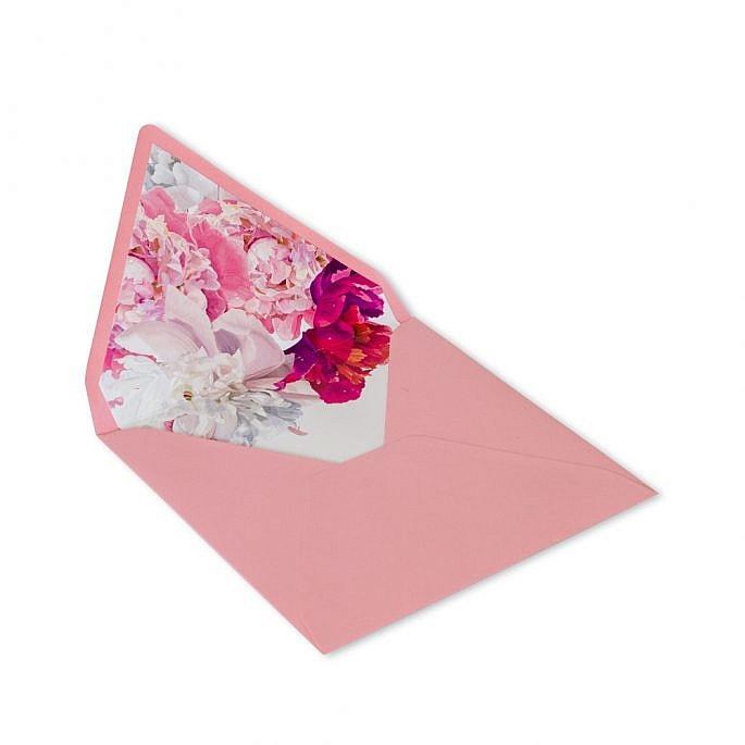 koperta z kwiatami piwonii nadruk wewnątrz