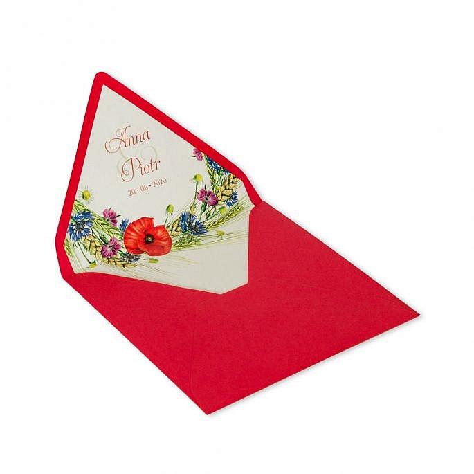 koperta na zaproszenie czerwona motyw roślinny kwiaty polne