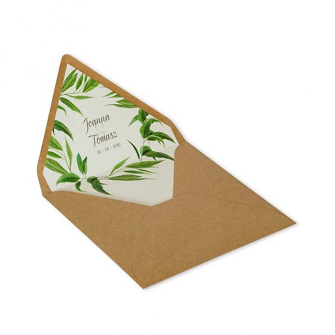kwadratowa koperta na zaproszenie ślubne liście motyw roślinny imiona młodej pary