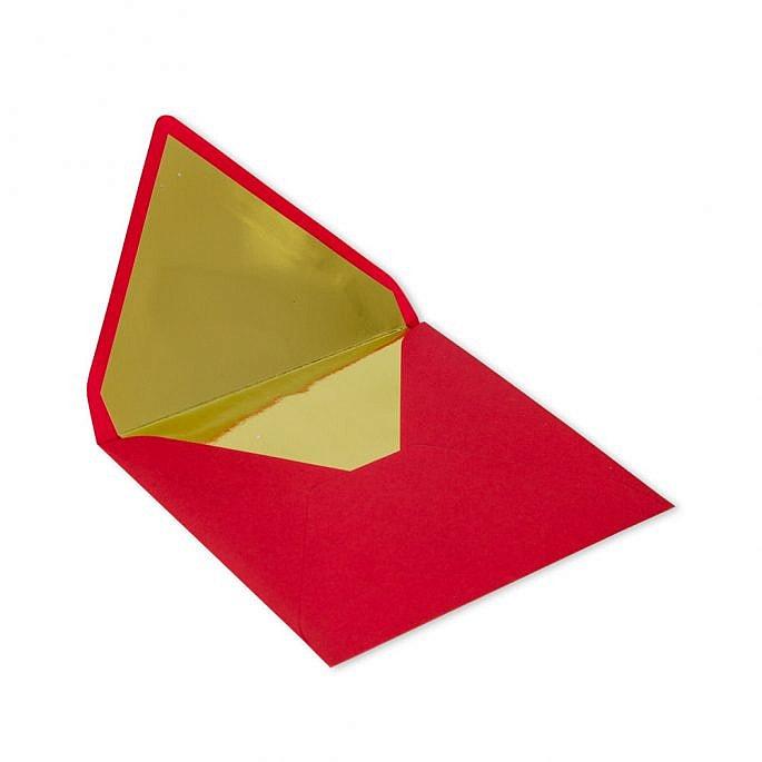 kwadratowa koperta czerwona złoty środek