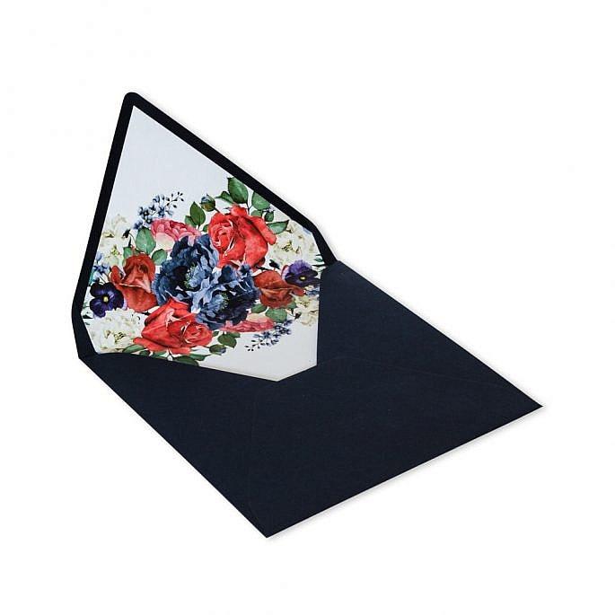 kwadratowa koperta z kwiatami nadruk