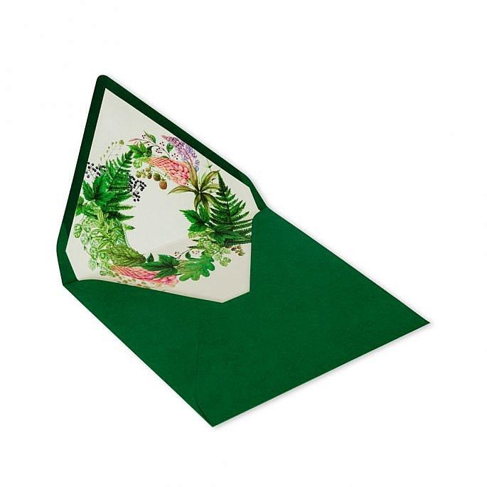 koperta na zaproszenie nadruk zielona